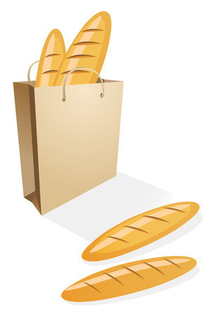 paperbag: Shopping bag with bread on the white