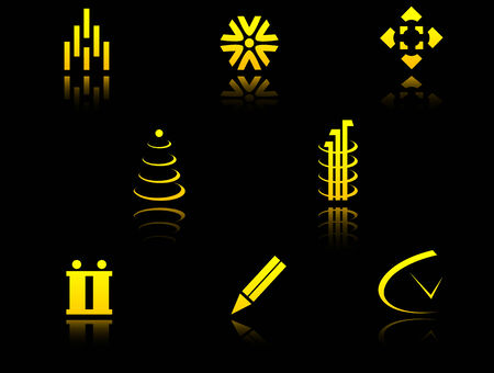 Set of golden symbols on black with reflection Vector