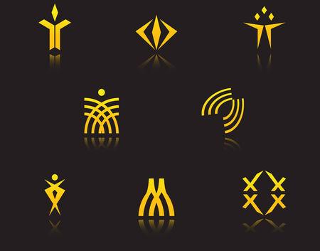 artistic logo: Set of golden symbols on black with reflection
