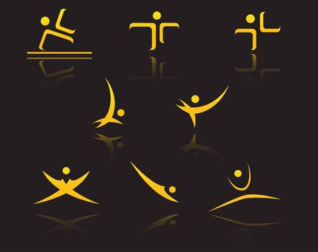 logotype: Set of golden symbols on black with reflection