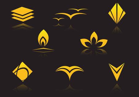 Set of golden symbols on black with reflection Vetores