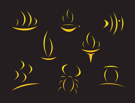 coffee company: Set of golden symbols on black with reflection
