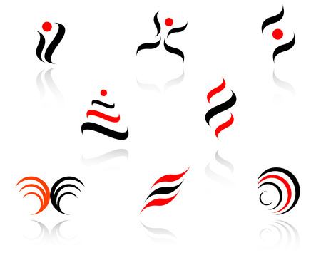 Set of red and black symbols on white