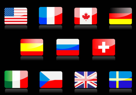 Glossy national flags on the black background Vector