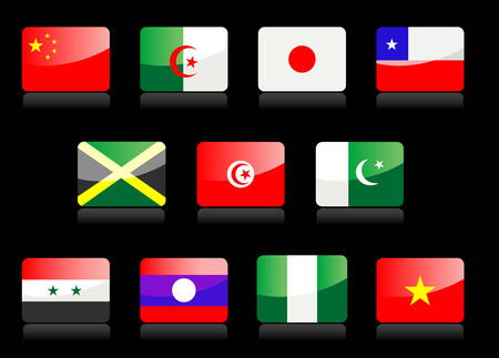 Glossy national flags on the black background Stock Vector - 4626424