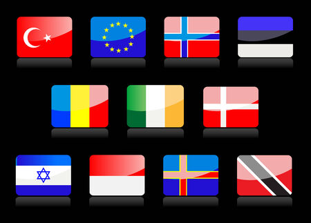Glossy national flags on the black background Stock Vector - 4626418