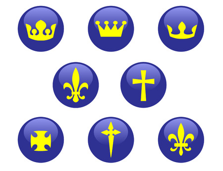 Royal and religion signs on blue buttons Vector
