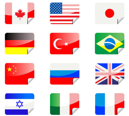 Glossy stickers with national flags isolated on white Stock Vector - 4707253