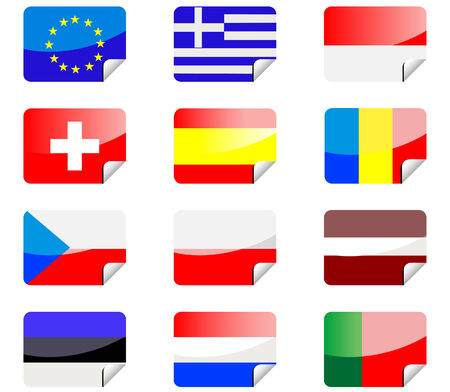 Glossy stickers with national flags isolated on white Vector