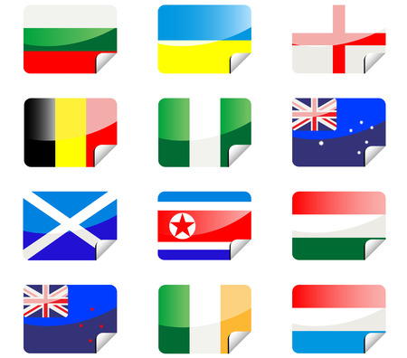 Glossy stickers with national flags isolated on white Stock Vector - 4707287