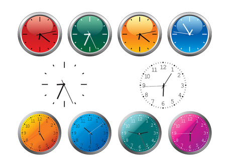 clockwise: Office clocks and dial isolated on white Illustration