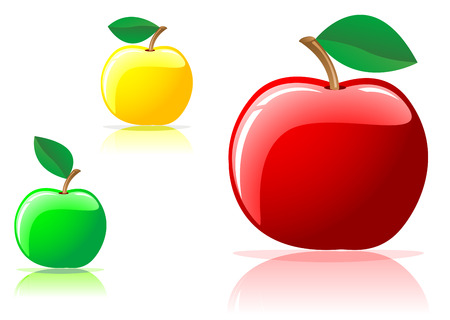 juicy: Three appetizing apples isolated on the white background Illustration