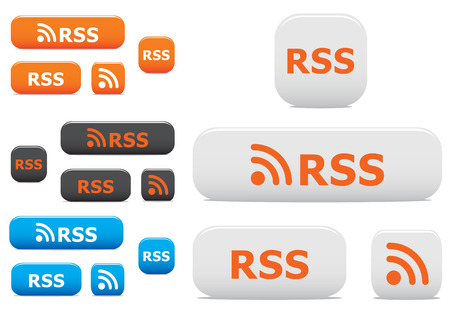 rss: Glossy rss buttons and symbols on the white