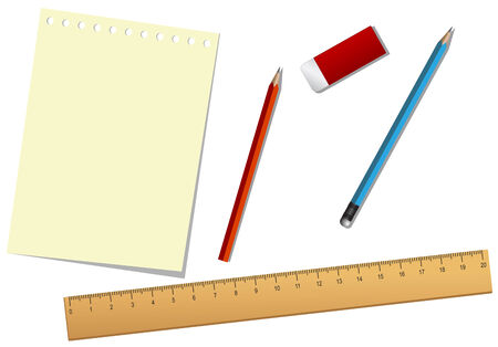 School tools and paper isolated on the white Vector