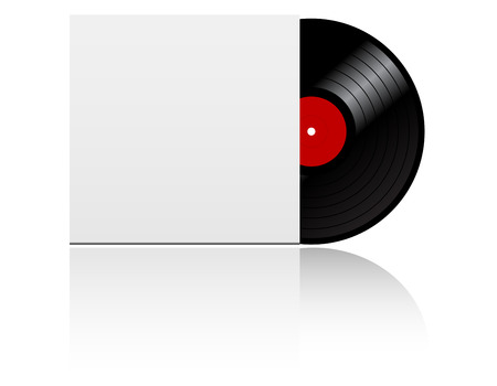 Vinyl record disk in box  on white background Vector