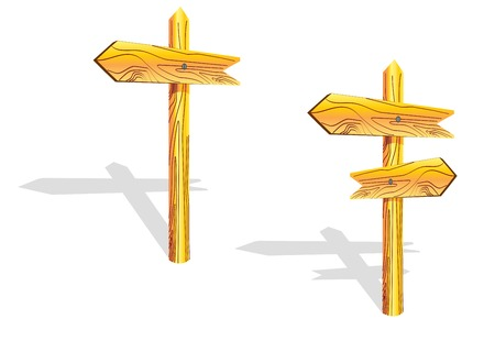 Wood arrows on the post isolated on white Vector