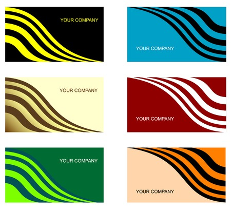 copy paste: Set of six different business cards isolated on white Illustration