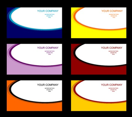 Set of six different business cards Vector