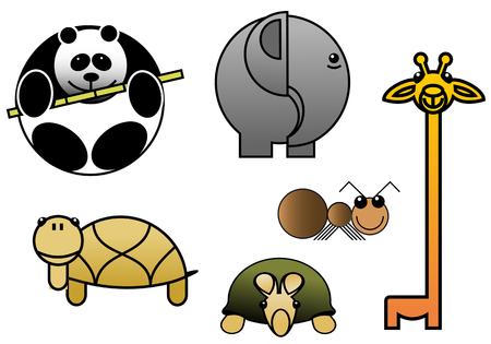 elefanten: Sch�ne Cartoon Tier Babys isoliert auf wei�em Illustration