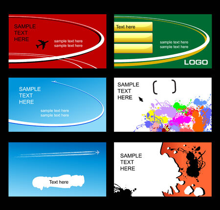 red cards: Set of  business cards isolated on background Illustration