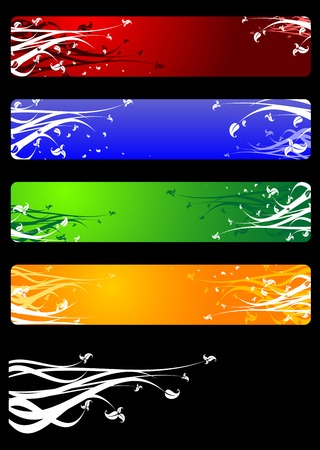 Colorful banners with flowers isolated on background Vector