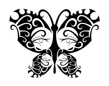 Isolated tattoo of beautiful black butterfly on white Vector