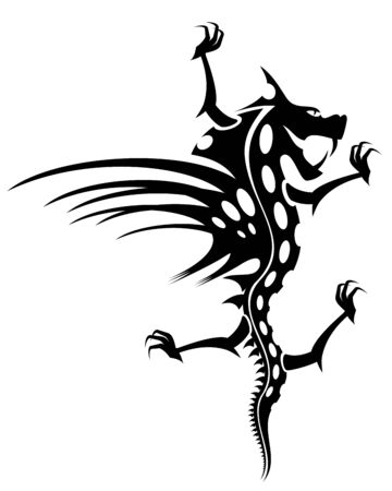 Isolated tattoo of  black dragon on white Stock Vector - 5229331