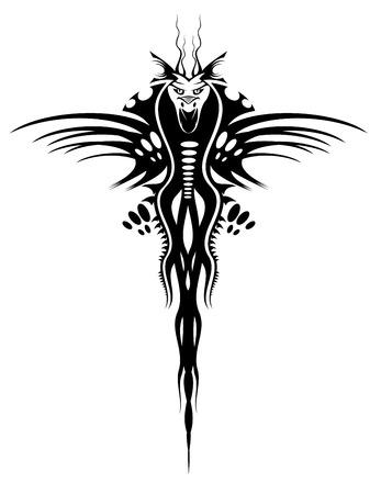 totem: Isol� de tatouage de dragon noir sur blanc Illustration