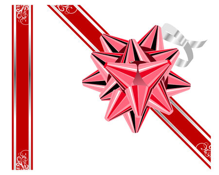 Red bow with ribbons isolated on white Stock Vector - 5229342