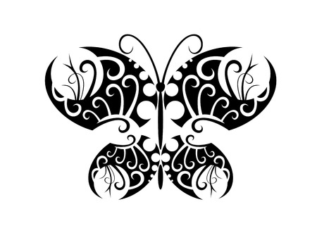 Isolated tattoo of beautiful black butterfly on white Stock Vector - 5259331