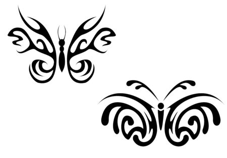 stylistic: Isolated tattoo of beautiful black butterfly on white