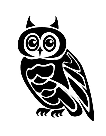 owl symbol: Beautiful isolated owl on background as a symbol