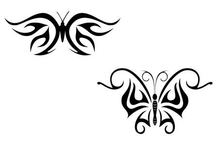 farfalla nera: Isolata tatuaggio di bellissime farfalle nere su fondo bianco Vettoriali
