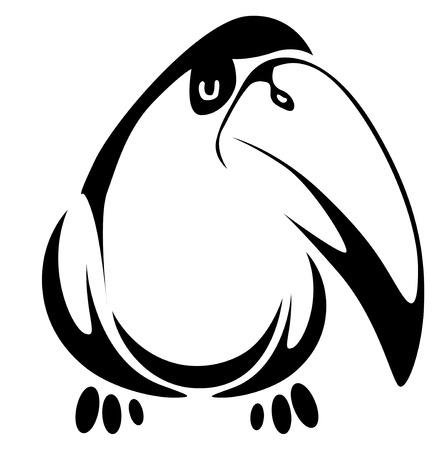 toucan: Isolated fun bird on background as a symbol