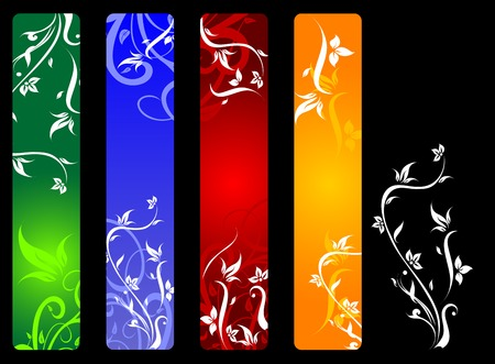 Vertical banners with flowers isolated on background Vector