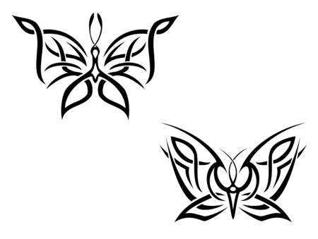 Isolated butterfly tattoos in tribal style on white background Vector