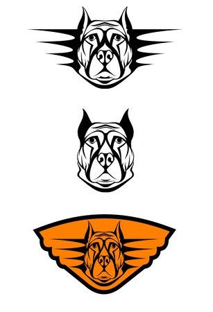 Set of guard dogs as a symbol or emblem Vector