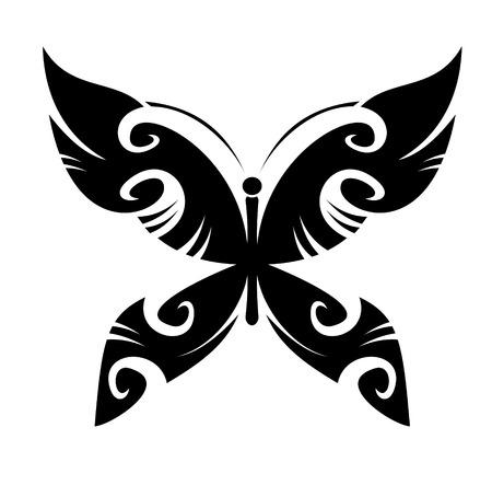 tatouage papillon: Butterfly Tattoo isol�s dans le style tribal sur fond blanc Illustration
