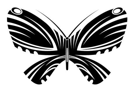 tatouage papillon: Tatouage papillon isol� dans le style tribal sur fond blanc