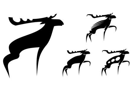 alces alces: Set de mooses aislados como mascota Vectores