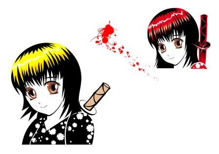 Young girl ninja with blood in manga style Vector