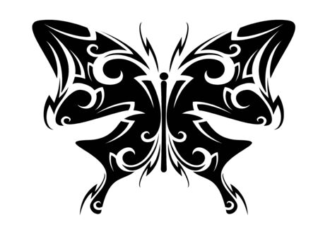 Isolated butterfly tattoo in tribal style on white background Vector