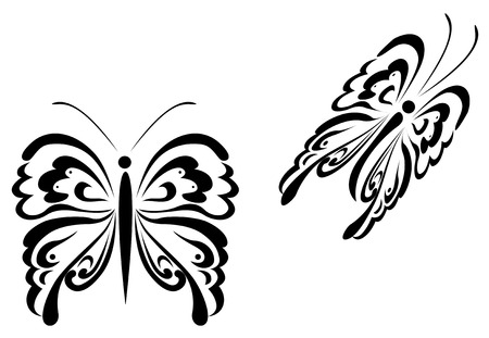 Isolated butterfly tattoos in tribal style on white background Stock Vector - 5351151