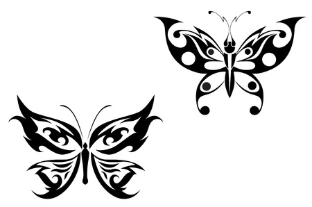 Isolated butterfly tattoos in tribal style on white background Stock Vector - 5351144