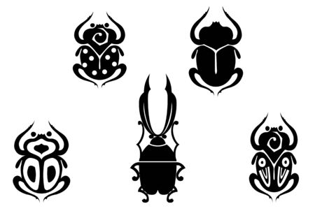Set of black beetles isolated on white for design Vector