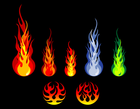 orange inferno: Beautiful fire and flame silhouettes isolated on background