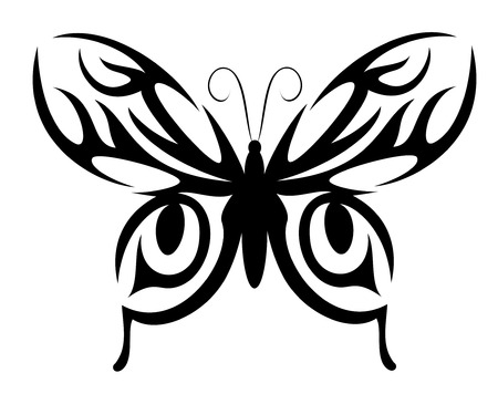 Isolated butterfly tattoo in tribal style on white background Stock Vector - 5381578