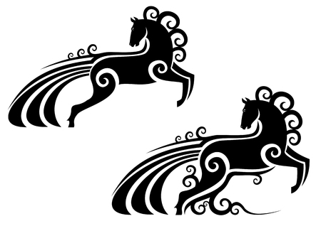 computer mascot: Horse silhouette as a mascot isolated on white Illustration