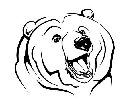 grizzly: Ours sauvage en tant que mascotte isol� sur blanc