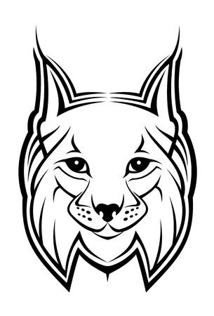 bobcat: Jefe de lince como mascota aisladas en blanco Vectores